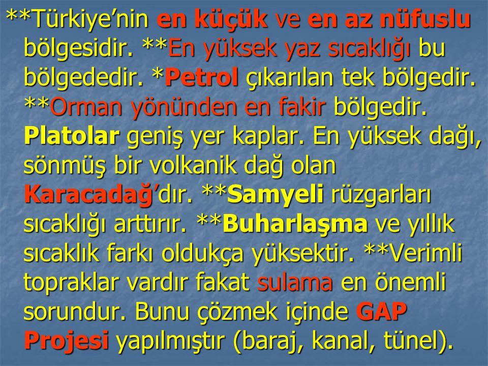**Türkiye'nin en küçük ve en az nüfuslu bölgesidir. **En yüksek yaz sıcaklığı bu bölgededir. *Petrol çıkarılan tek bölgedir. **Orman yönünden en fakir