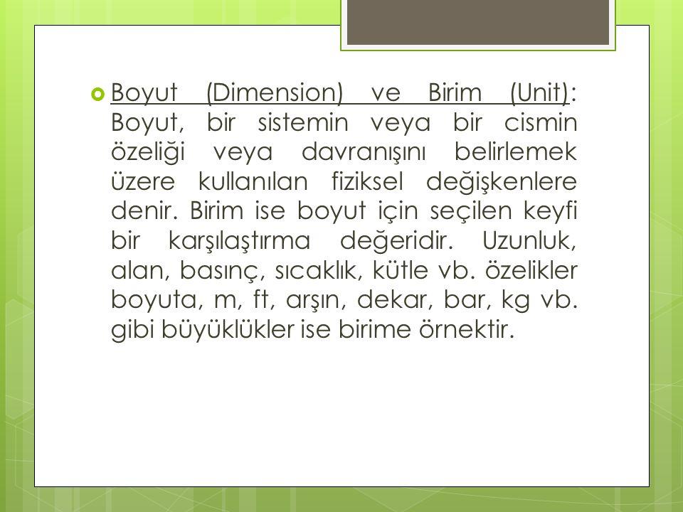  Boyut (Dimension) ve Birim (Unit): Boyut, bir sistemin veya bir cismin özeliği veya davranışını belirlemek üzere kullanılan fiziksel değişkenlere denir.