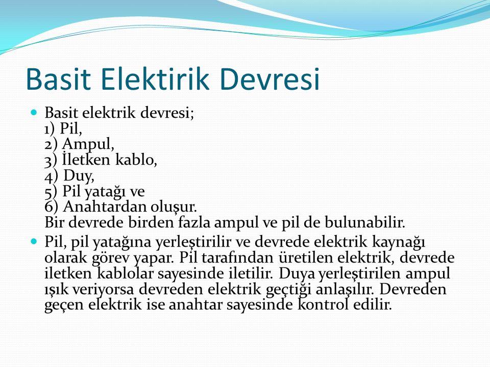 Basit Elektirik Devresi Basit elektrik devresi; 1) Pil, 2) Ampul, 3) İletken kablo, 4) Duy, 5) Pil yatağı ve 6) Anahtardan oluşur.