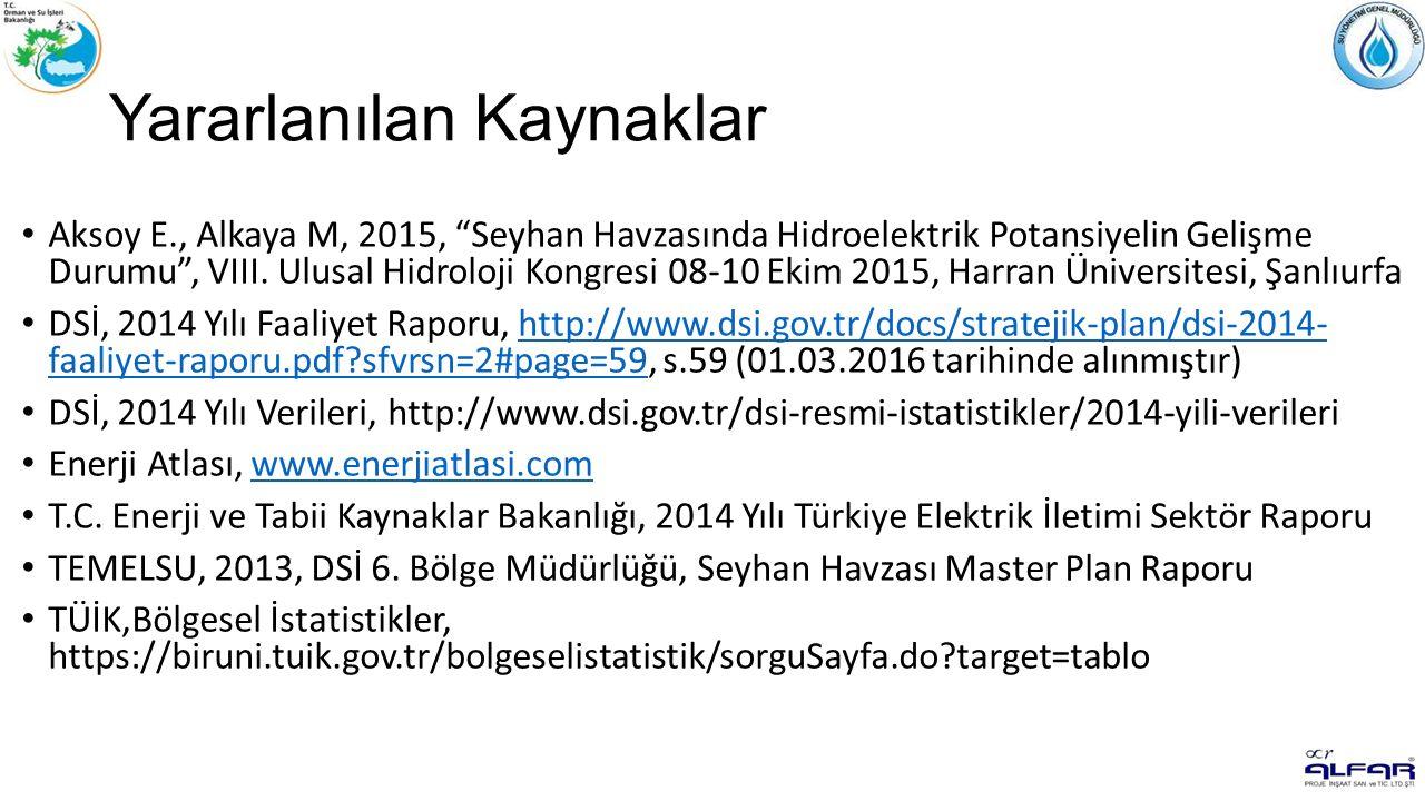 Yararlanılan Kaynaklar Aksoy E., Alkaya M, 2015, Seyhan Havzasında Hidroelektrik Potansiyelin Gelişme Durumu , VIII.