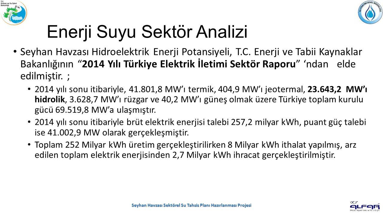 Enerji Suyu Sektör Analizi Seyhan Havzası Hidroelektrik Enerji Potansiyeli, T.C.