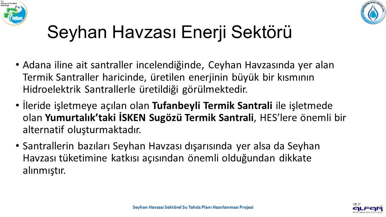 Seyhan Havzası Enerji Sektörü Adana iline ait santraller incelendiğinde, Ceyhan Havzasında yer alan Termik Santraller haricinde, üretilen enerjinin büyük bir kısmının Hidroelektrik Santrallerle üretildiği görülmektedir.