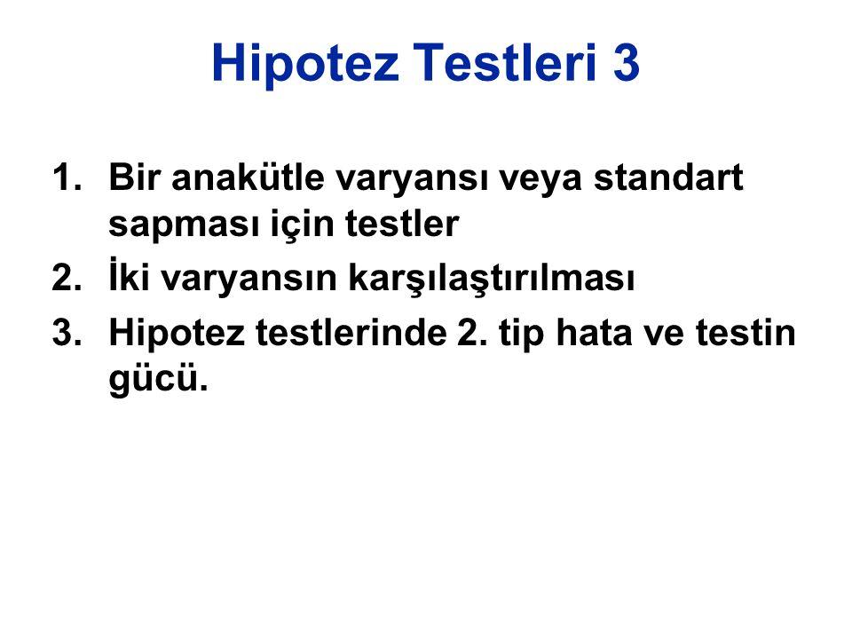1.Bir anakütle varyansı veya standart sapması için testler 2.İki varyansın karşılaştırılması 3.Hipotez testlerinde 2. tip hata ve testin gücü.