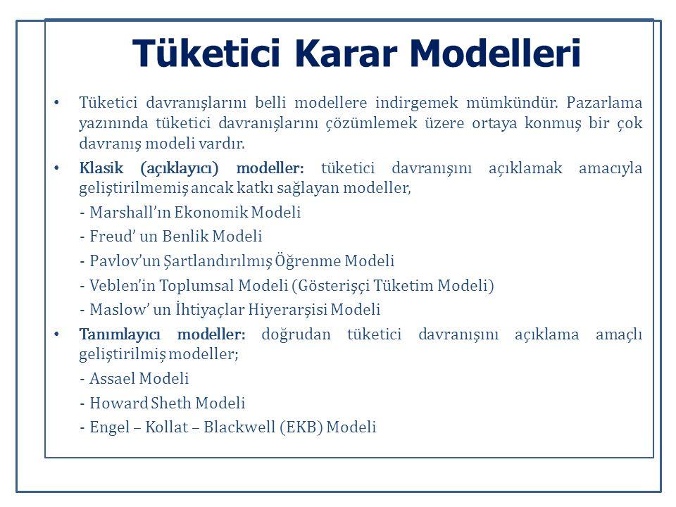 Tüketici Karar Modelleri Tüketici davranışlarını belli modellere indirgemek mümkündür.