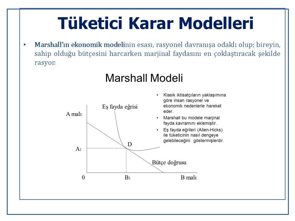 Tüketici Karar Modelleri Marshall'ın ekonomik modelinin esası, rasyonel davranışa odaklı olup; bireyin, sahip olduğu bütçesini harcarken marjinal faydasını en çoklaştıracak şekilde rasyonel karar verme üzerine kurulmuştur.