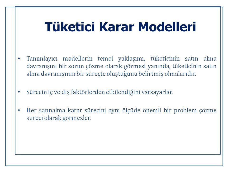 Tüketici Karar Modelleri Tanımlayıcı modellerin temel yaklaşımı, tüketicinin satın alma davranışını bir sorun çözme olarak görmesi yanında, tüketicinin satın alma davranışının bir süreçte oluştuğunu belirtmiş olmalarıdır.