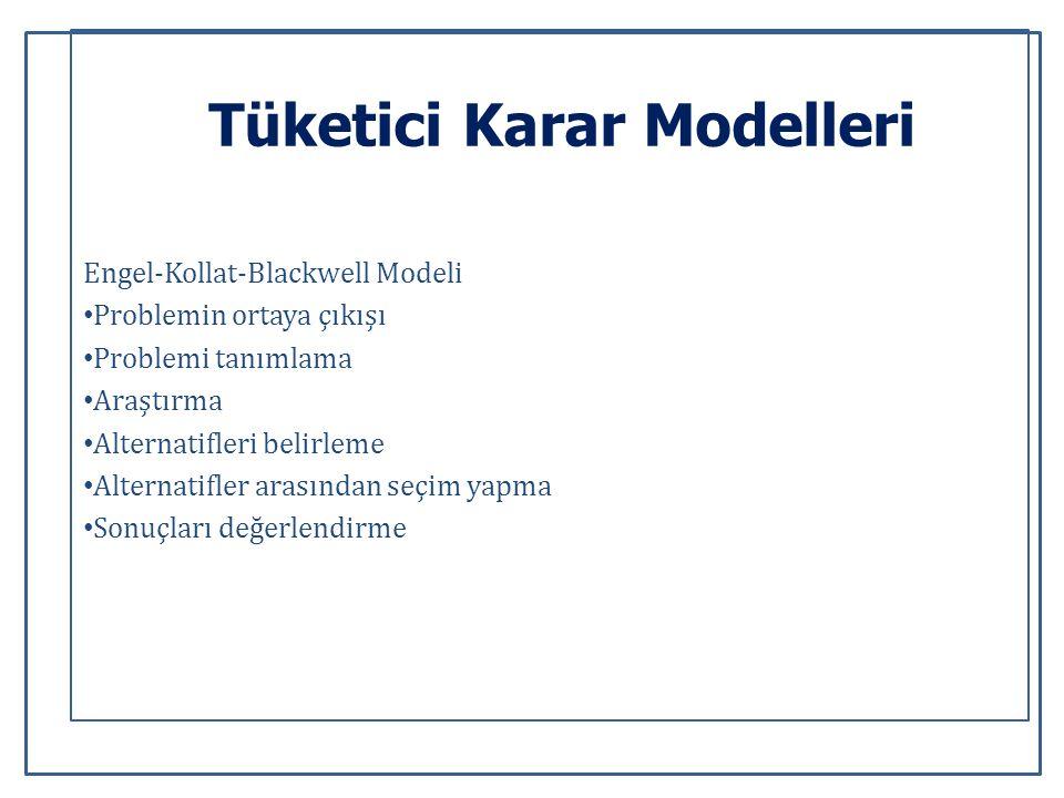 Tüketici Karar Modelleri Engel-Kollat-Blackwell Modeli Problemin ortaya çıkışı Problemi tanımlama Araştırma Alternatifleri belirleme Alternatifler arasından seçim yapma Sonuçları değerlendirme