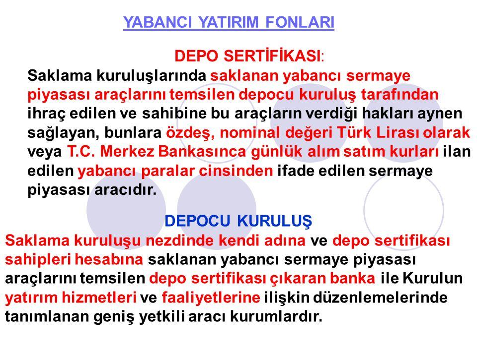 YABANCI YATIRIM FONLARI Yabancı Ortaklık Türk Parası Kıymetini Koruma Hakkında 32 Sayılı Kararda tanımlanan dışarıda yerleşik kişilerden ilgili ülke mevzuatına göre sermaye piyasası araçlarını ihraç eden ortaklığı, kurum veya kuruluştur.