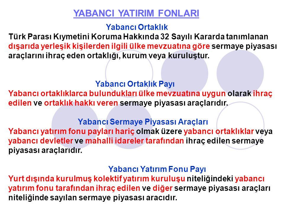 YABANCI YATIRIM FONLARI Yabancı Ortaklık Türk Parası Kıymetini Koruma Hakkında 32 Sayılı Kararda tanımlanan dışarıda yerleşik kişilerden ilgili ülke m