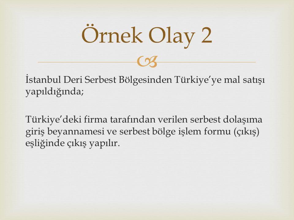  İstanbul Deri Serbest Bölgesinden Türkiye'ye mal satışı yapıldığında; Türkiye'deki firma tarafından verilen serbest dolaşıma giriş beyannamesi ve serbest bölge işlem formu (çıkış) eşliğinde çıkış yapılır.