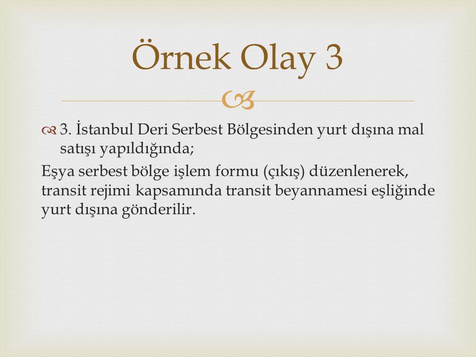   3. İstanbul Deri Serbest Bölgesinden yurt dışına mal satışı yapıldığında; Eşya serbest bölge işlem formu (çıkış) düzenlenerek, transit rejimi kaps