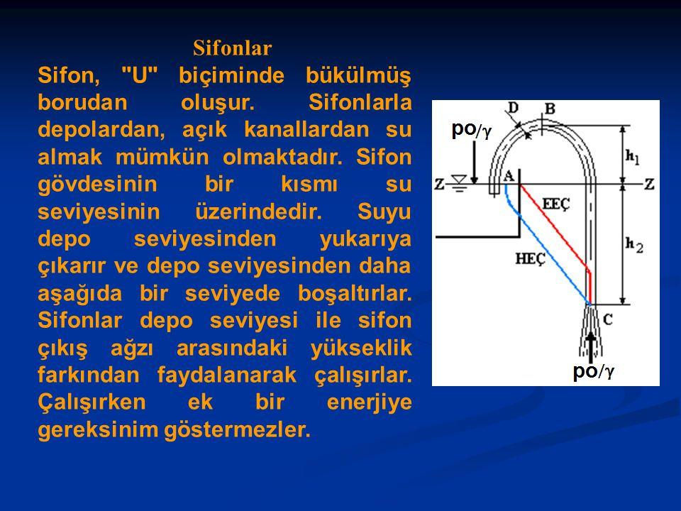 Sifonlar Sifon, U biçiminde bükülmüş borudan oluşur.