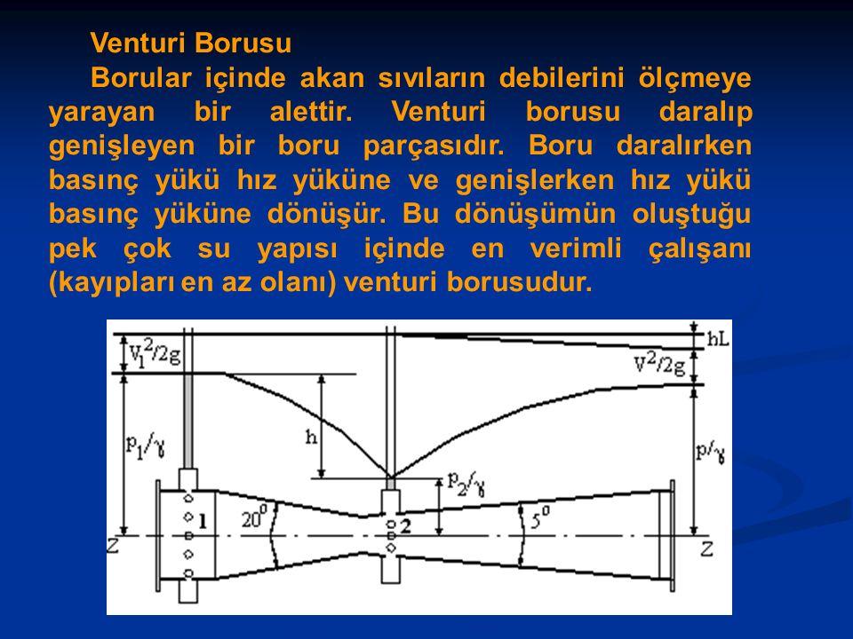 Venturi Borusu Borular içinde akan sıvıların debilerini ölçmeye yarayan bir alettir.