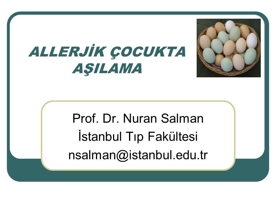 ALLERJİK ÇOCUKTA AŞILAMA Prof. Dr. Nuran Salman İstanbul Tıp Fakültesi nsalman@istanbul.edu.tr