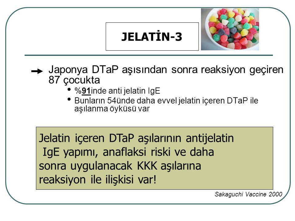 Japonya DTaP aşısından sonra reaksiyon geçiren 87 çocukta %91inde anti jelatin IgE Bunların 54ünde daha evvel jelatin içeren DTaP ile aşılanma öyküsü