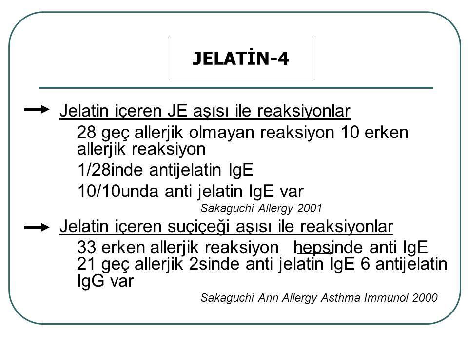 Jelatin içeren JE aşısı ile reaksiyonlar 28 geç allerjik olmayan reaksiyon 10 erken allerjik reaksiyon 1/28inde antijelatin IgE 10/10unda anti jelatin