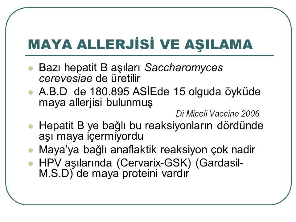 MAYA ALLERJİSİ VE AŞILAMA Bazı hepatit B aşıları Saccharomyces cerevesiae de üretilir A.B.D de 180.895 ASİEde 15 olguda öyküde maya allerjisi bulunmuş