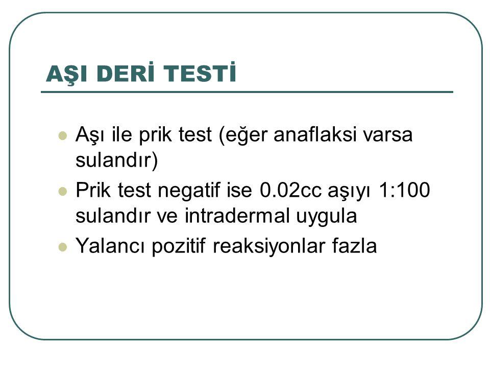 AŞI DERİ TESTİ Aşı ile prik test (eğer anaflaksi varsa sulandır) Prik test negatif ise 0.02cc aşıyı 1:100 sulandır ve intradermal uygula Yalancı pozit