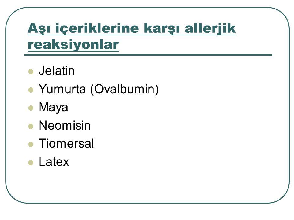 Aşı içeriklerine karşı allerjik reaksiyonlar Jelatin Yumurta (Ovalbumin) Maya Neomisin Tiomersal Latex