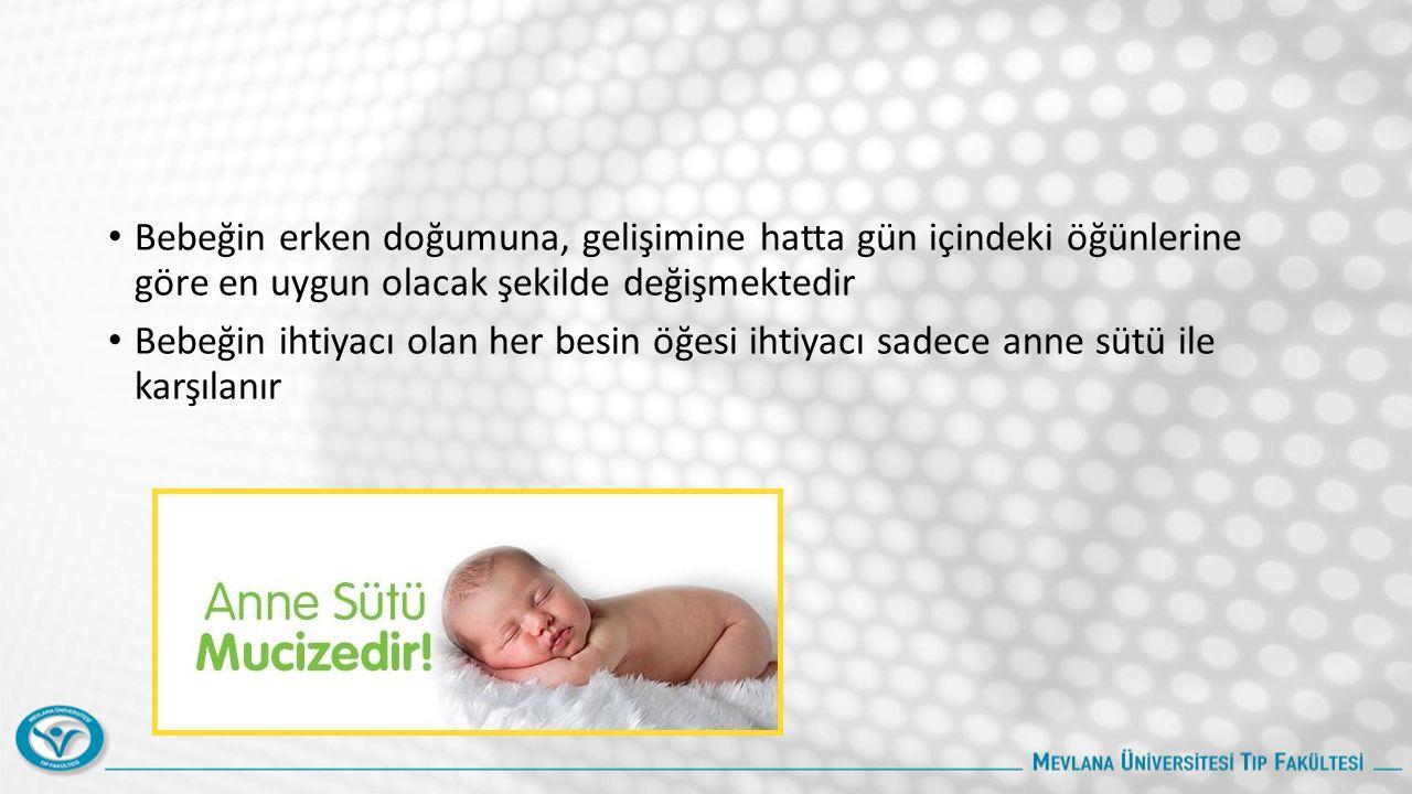 Bebeğin erken doğumuna, gelişimine hatta gün içindeki öğünlerine göre en uygun olacak şekilde değişmektedir Bebeğin ihtiyacı olan her besin öğesi ihtiyacı sadece anne sütü ile karşılanır