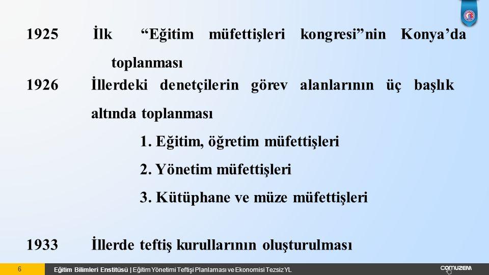 Eğitim Bilimleri Enstitüsü   Eğitim Yönetimi Teftişi Planlaması ve Ekonomisi Tezsiz YL 1949Bakanlık Müfettişlerinin 7 bölge merkezine dağıtılması 1967Bugünkü Teftiş Kurulu Yönetmeliği nin hazırlanması 1950Bu uygulamadan vazgeçilerek Bakanlık Müfettişlerinin Ankara, İstanbul ve İzmir'de toplanmaları 7