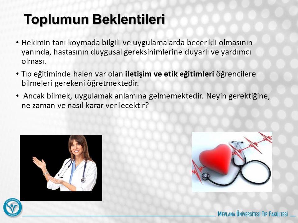 Tıp eğitiminde Hastayı anlamak Tıp eğitiminin kuramsal yönünün olduğu kadar beceri ve tutum yönünün de oldukça yüklü olduğu ortadadır.