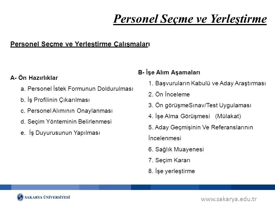 www.sakarya.edu.tr Personel Seçme ve Yerleştirme Personel Seçme ve Yerleştirme Çalışmaları A- Ön Hazırlıklar a. Personel İstek Formunun Doldurulması b