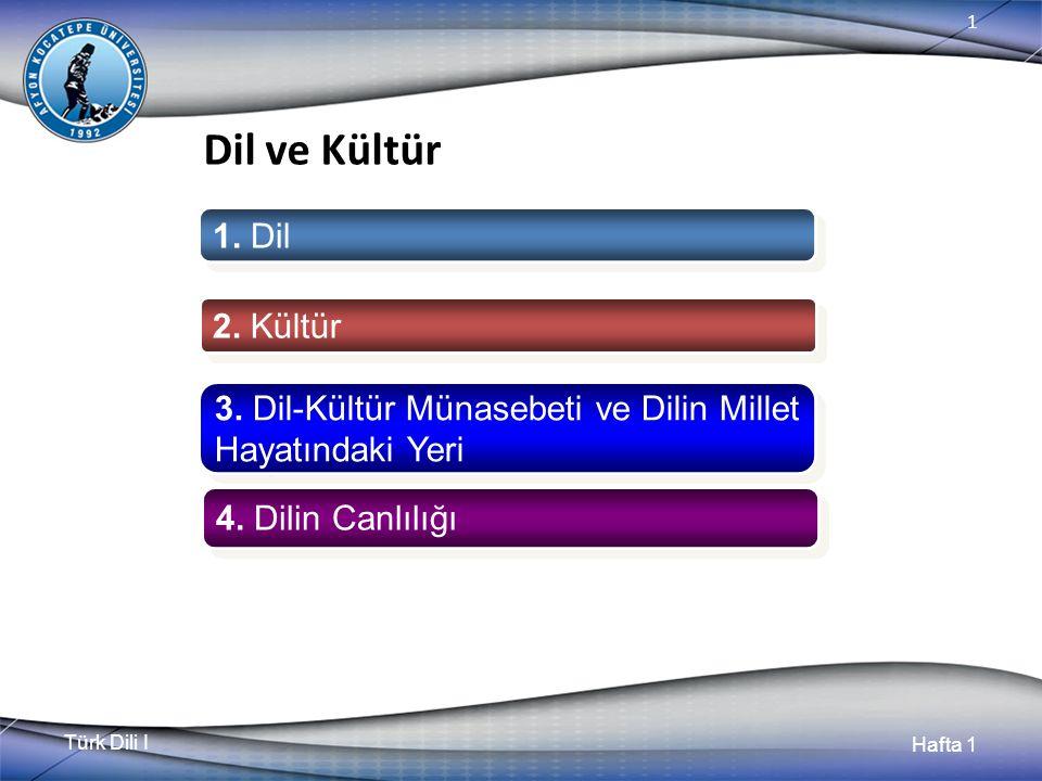 Türk Dili I Hafta 1 1 Dil ve Kültür 1. Dil 2. Kültür 3.