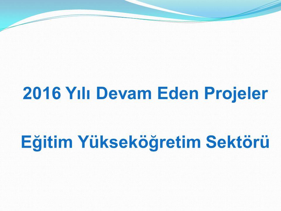2016 Yılı Devam Eden Projeler Eğitim Yükseköğretim Sektörü