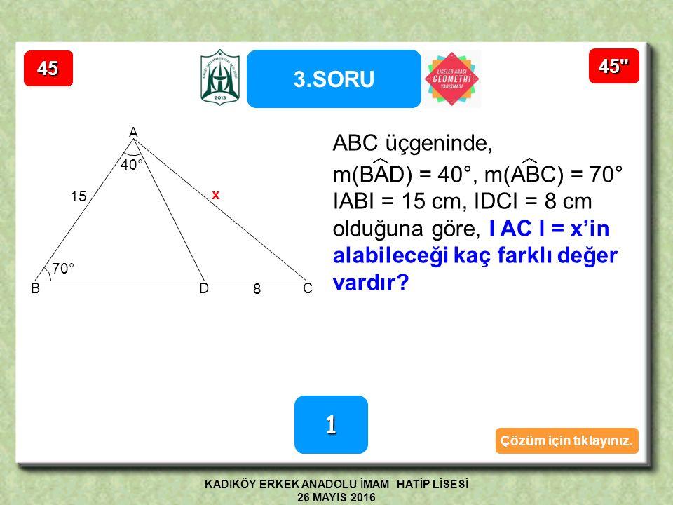 D E C A B ıı Çapı gören çevre açı 90° O rr 2r    Yükseklik tabanı iki eşit parçaya böldüğünden ABE ikizkenar üçgendir.