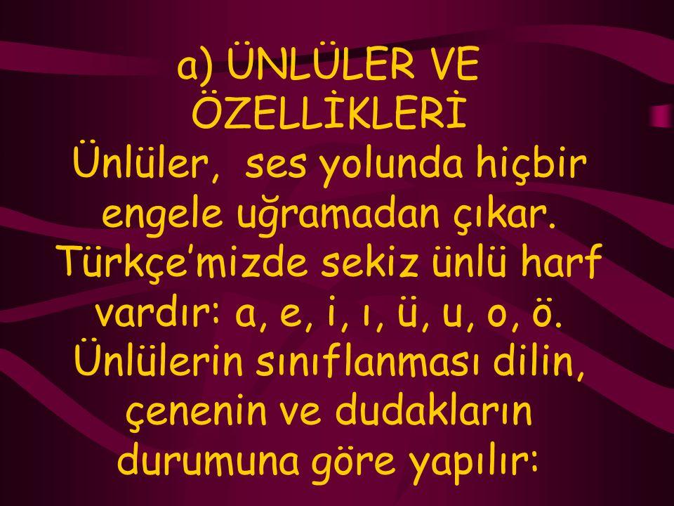 SESLERİN SINIFLANDIRILMASI, Türkçe'mizde konuşmamız için gerekli olan 29 ses vardır. Bu sesler ses yolundaki biçimlenişine göre ikiye ayrılır: ÜNLÜLER