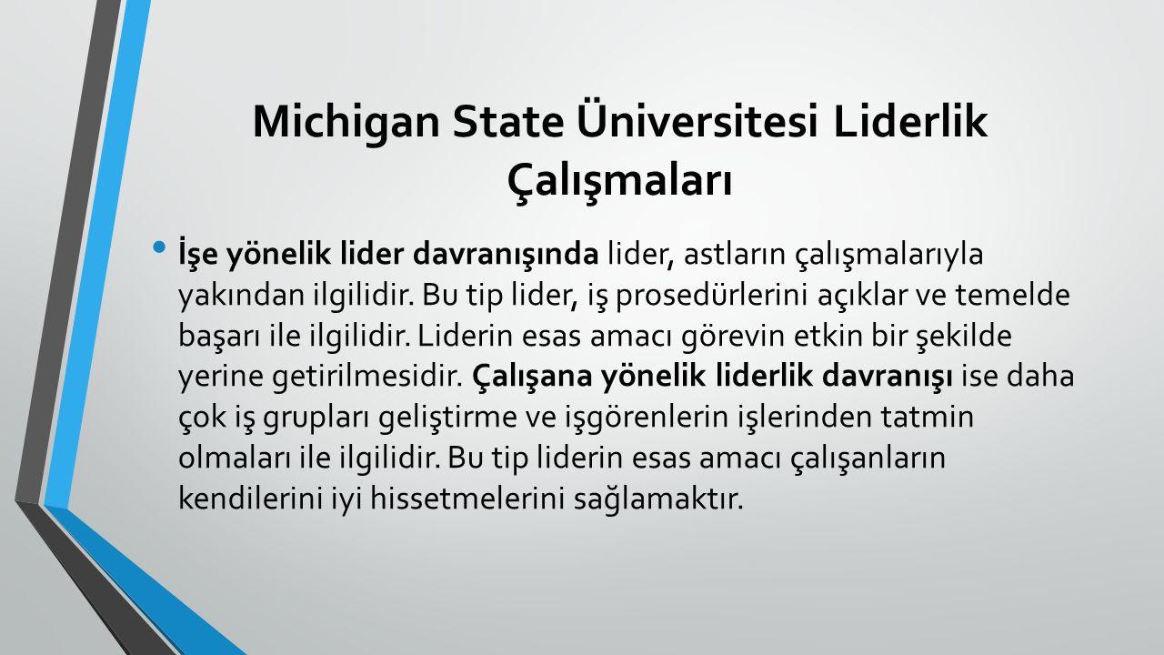 Michigan State Üniversitesi Liderlik Çalışmaları İşe yönelik lider davranışında lider, astların çalışmalarıyla yakından ilgilidir. Bu tip lider, iş pr