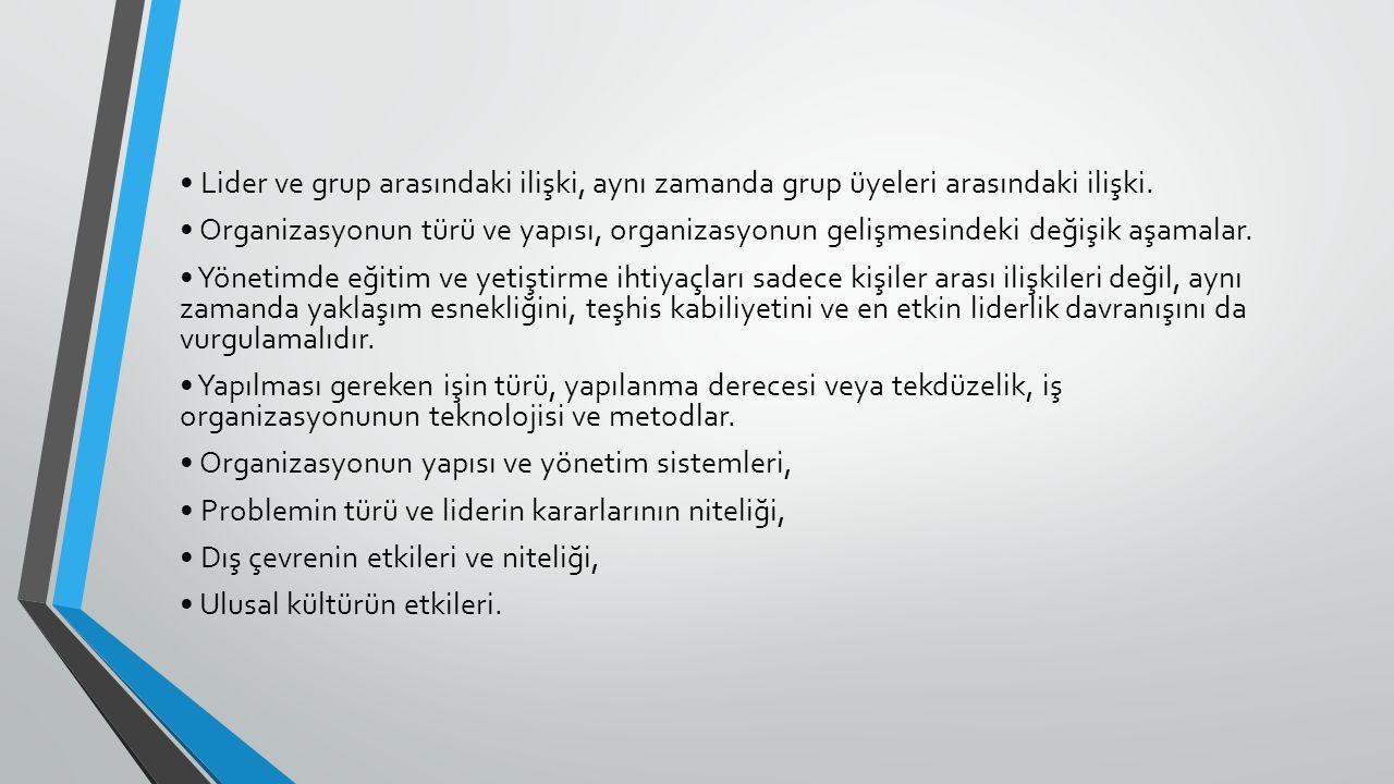 Lider ve grup arasındaki ilişki, aynı zamanda grup üyeleri arasındaki ilişki. Organizasyonun türü ve yapısı, organizasyonun gelişmesindeki değişik aşa