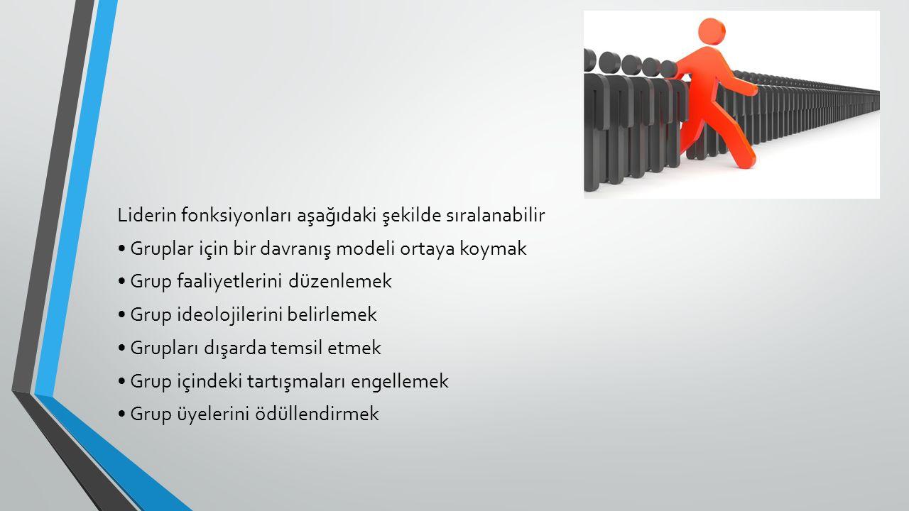 Liderin fonksiyonları aşağıdaki şekilde sıralanabilir Gruplar için bir davranış modeli ortaya koymak Grup faaliyetlerini düzenlemek Grup ideolojilerini belirlemek Grupları dışarda temsil etmek Grup içindeki tartışmaları engellemek Grup üyelerini ödüllendirmek