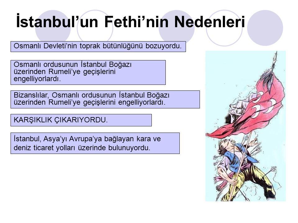 İstanbul'un Fethi'nin Nedenleri Osmanlı Devleti'nin toprak bütünlüğünü bozuyordu.
