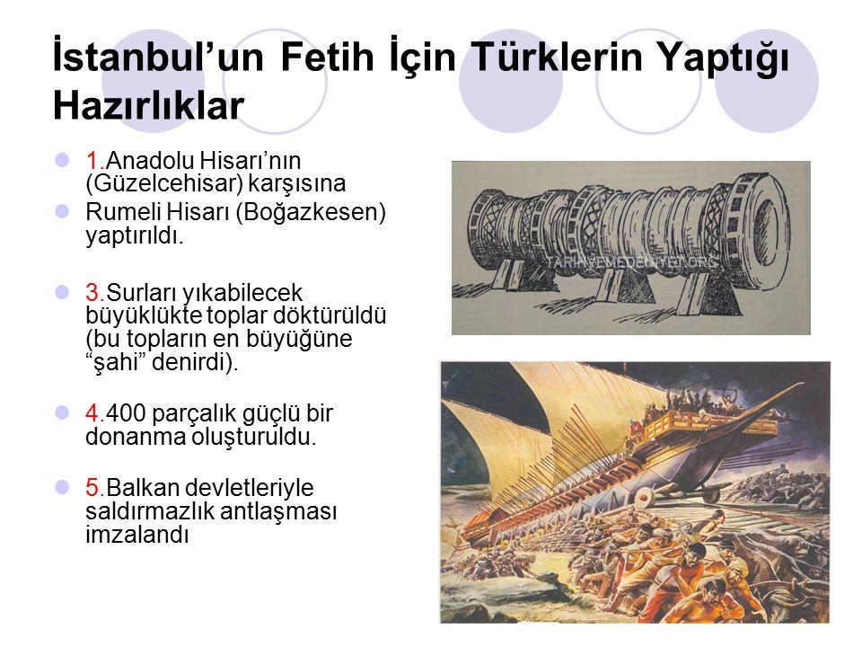 İstanbul'un Fetih İçin Türklerin Yaptığı Hazırlıklar 1.Anadolu Hisarı'nın (Güzelcehisar) karşısına Rumeli Hisarı (Boğazkesen) yaptırıldı.