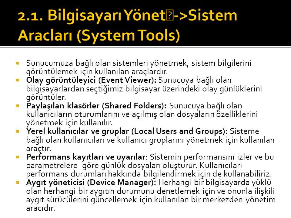  Sunucumuza bağlı olan sistemleri yönetmek, sistem bilgilerini görüntülemek için kullanılan araçlardır.