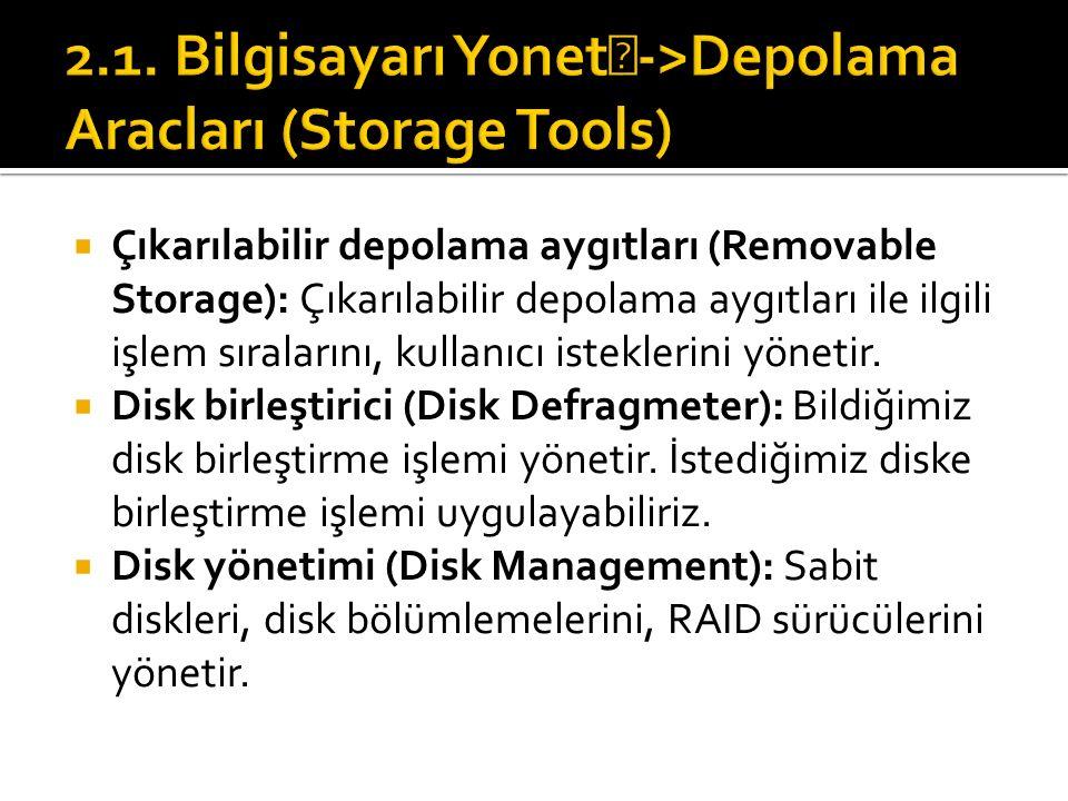  Çıkarılabilir depolama aygıtları (Removable Storage): Çıkarılabilir depolama aygıtları ile ilgili işlem sıralarını, kullanıcı isteklerini yönetir.