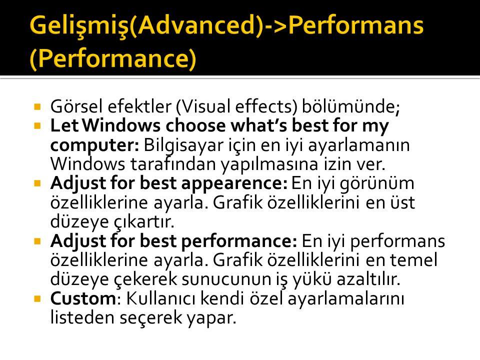  Görsel efektler (Visual effects) bölümünde;  Let Windows choose what's best for my computer: Bilgisayar için en iyi ayarlamanın Windows tarafından yapılmasına izin ver.