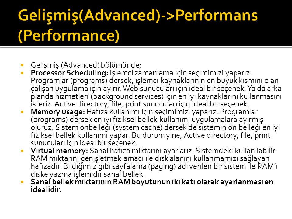  Gelişmiş (Advanced) bölümünde;  Processor Scheduling: İşlemci zamanlama için seçimimizi yaparız.