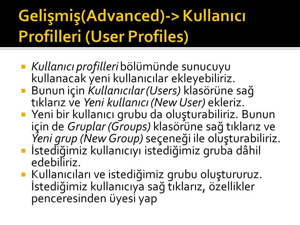 Kullanıcı profilleri bölümünde sunucuyu kullanacak yeni kullanıcılar ekleyebiliriz.