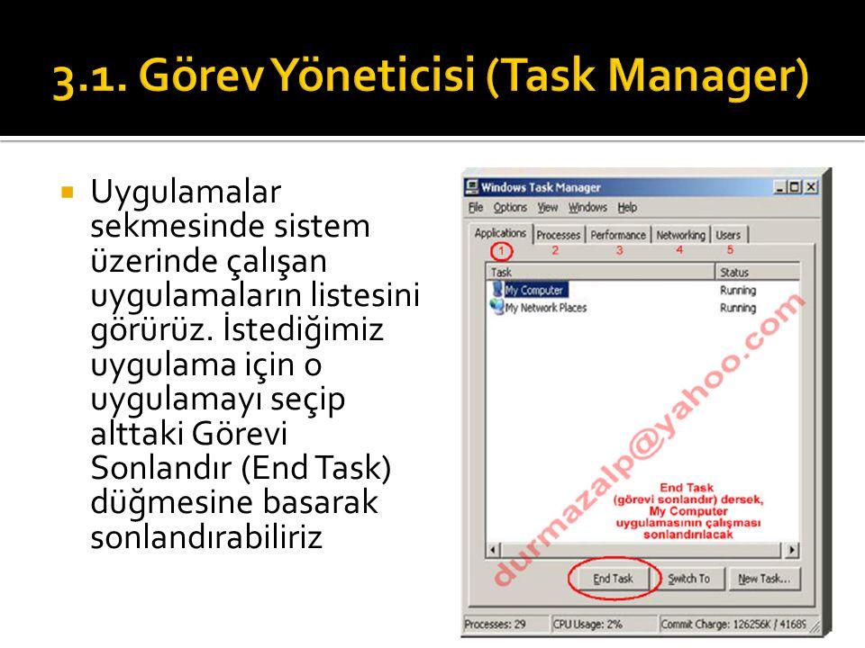  Uygulamalar sekmesinde sistem üzerinde çalışan uygulamaların listesini görürüz.