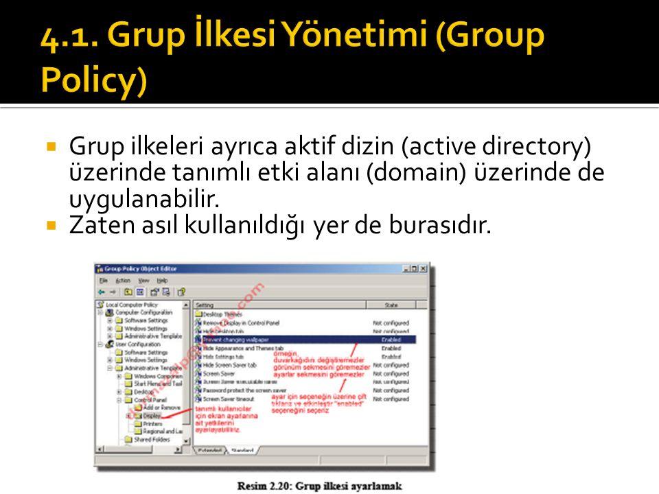  Grup ilkeleri ayrıca aktif dizin (active directory) üzerinde tanımlı etki alanı (domain) üzerinde de uygulanabilir.