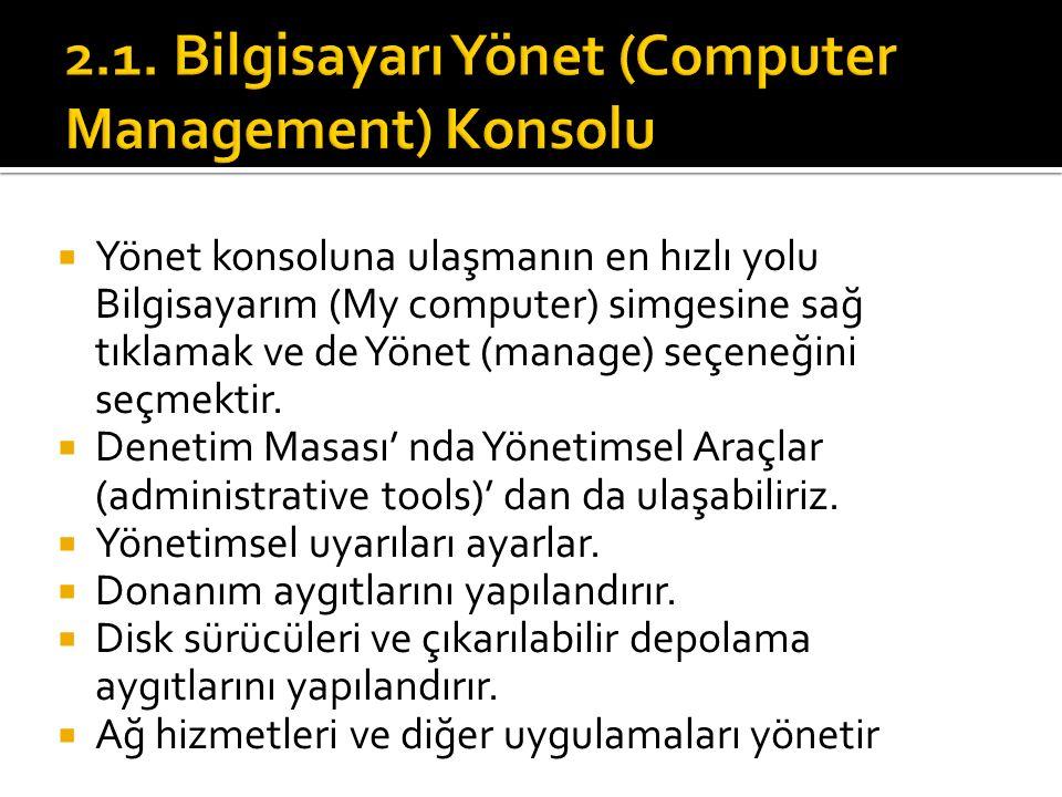  Yönet konsoluna ulaşmanın en hızlı yolu Bilgisayarım (My computer) simgesine sağ tıklamak ve de Yönet (manage) seçeneğini seçmektir.