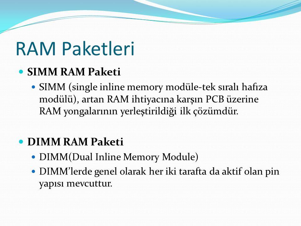 RAM Paketleri SIMM RAM Paketi SIMM (single inline memory modüle-tek sıralı hafıza modülü), artan RAM ihtiyacına karşın PCB üzerine RAM yongalarının yerleştirildiği ilk çözümdür.