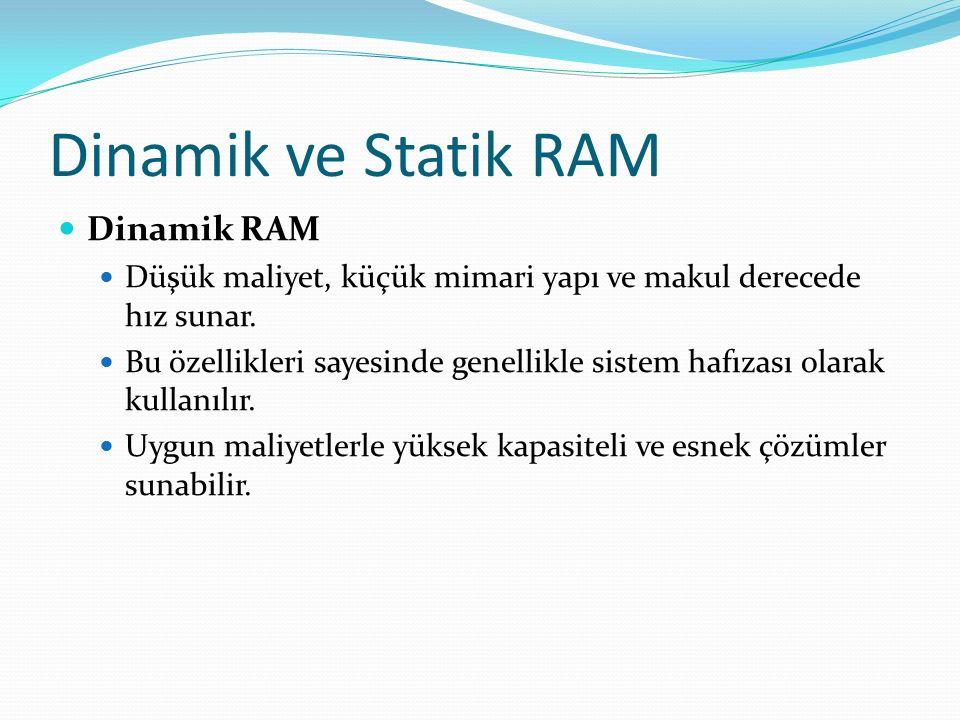 Dinamik ve Statik RAM Dinamik RAM Düşük maliyet, küçük mimari yapı ve makul derecede hız sunar.