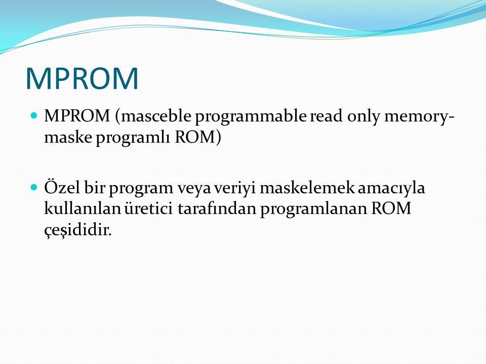 MPROM MPROM (masceble programmable read only memory- maske programlı ROM) Özel bir program veya veriyi maskelemek amacıyla kullanılan üretici tarafından programlanan ROM çeşididir.