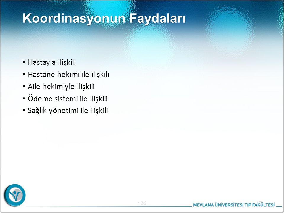 Koordinasyonun Faydaları Hastayla ilişkili Hastane hekimi ile ilişkili Aile hekimiyle ilişkili Ödeme sistemi ile ilişkili Sağlık yönetimi ile ilişkili / 2617