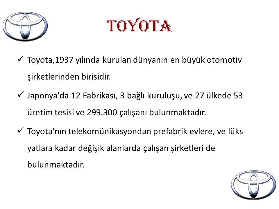 TOYOTA Toyota,1937 yılında kurulan dünyanın en büyük otomotiv şirketlerinden birisidir.