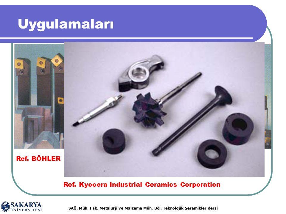 SAÜ. Müh. Fak. Metalurji ve Malzeme Müh. Böl. Teknolojik Seramikler dersi Ref. BÖHLER Ref. Kyocera Industrial Ceramics Corporation Uygulamaları